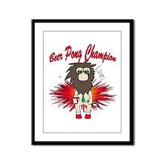Cave man beer pong Framed Panel Print