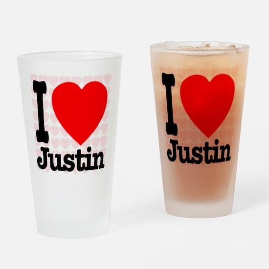 I Love Justin Drinking Glass