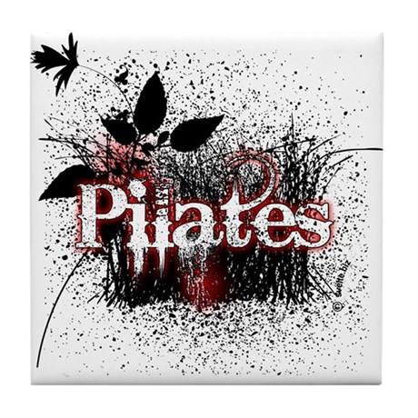 PIlates Leaves of Grass by Svelte.biz Tile Coaster