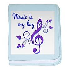 Music is my bag baby blanket