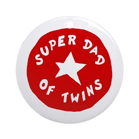 SUPER DAD OF TWINS Ornament (Round)