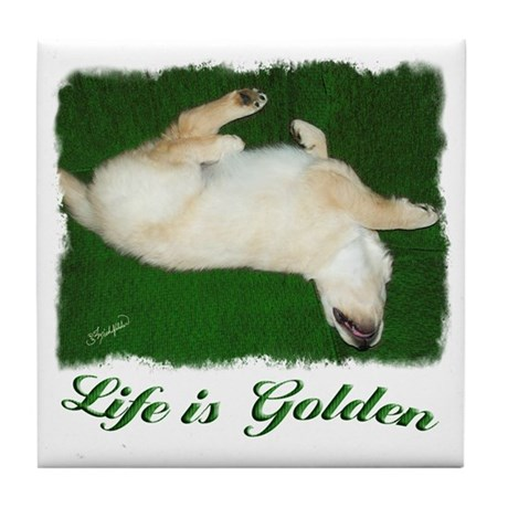 Life is Golden Puppy Tile Coaster