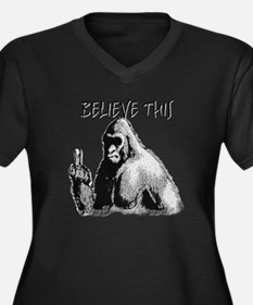 BELIEVE THIS! Women's Plus Size V-Neck Dark T-Shir