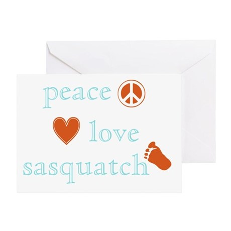 Peace, Love and Sasquatch Greeting Card