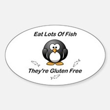Eat Lots Of Fish Sticker (Oval)