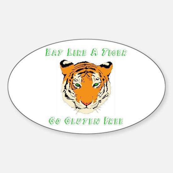 Gluten Free Tiger Sticker (Oval)