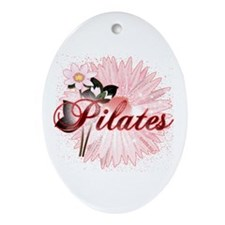 Pink PIlates Flowers by Svelte.biz Ornament (Oval)