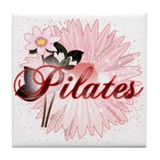 Pink PIlates Flowers by Svelte.biz Tile Coaster
