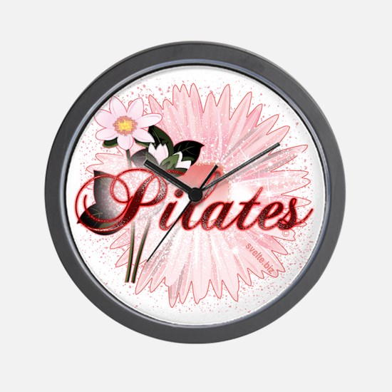 Pink PIlates Flowers by Svelte.biz Wall Clock
