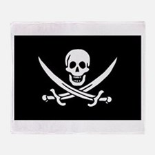 Pirate Captain Calico Jack Ra Throw Blanket