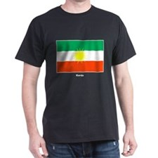 Kurd Kurdistan Flag (Front) Black T-Shirt