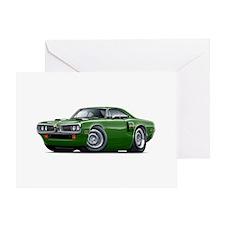 1970 Coronet Green Car Greeting Card