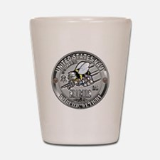 USN Navy Seabees Can Do Build Shot Glass
