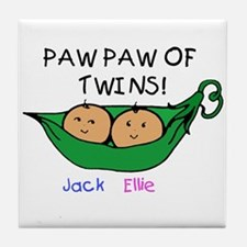 Paw Paw of Twins Jack Ellie Tile Coaster