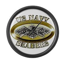 US Navy Seabees Combat Warfar Large Wall Clock