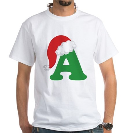 Christmas Letter A Alphabet White T-Shirt