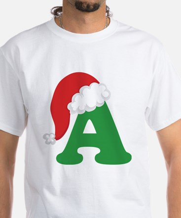Christmas Letter A Alphabet White T-Shirt