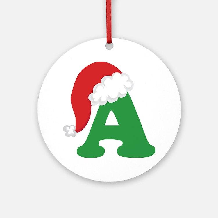 Christmas Letter A Alphabet Ornament (Round)