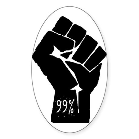 99 % Fist Sticker (Oval)