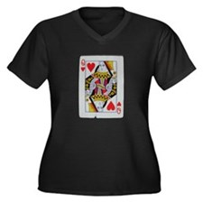 QUEEN OF HEARTS Women's Plus Size V-Neck Dark T-Sh