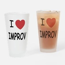 I heart improv Drinking Glass