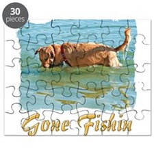 Golden Retriever Gone Fishin Puzzle