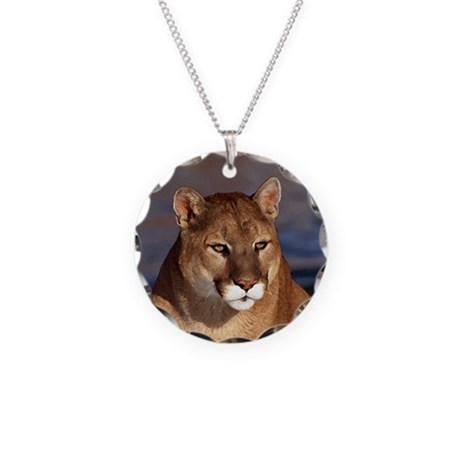 Mountain Lion Necklace Circle Charm