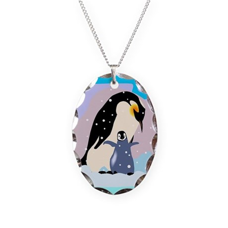 Penguins Necklace Oval Charm