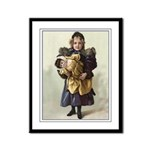 Framed Reproduction Victorian Print Girl and Doll
