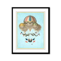 Framed Hot Air Balloon Vintage Look Panel Print