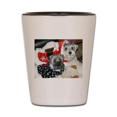 Schnauzer Christmas Holiday Shot Glass