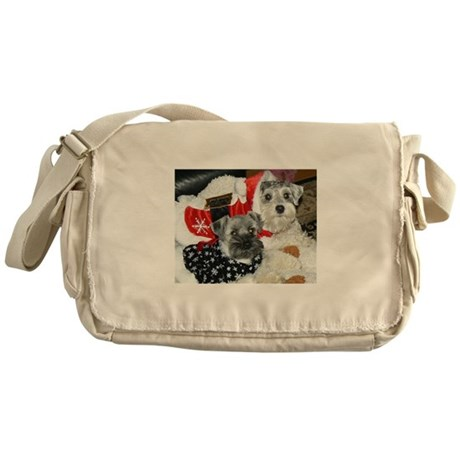 Schnauzer Christmas Holiday Messenger Bag