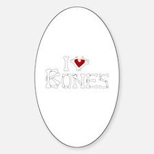 I Love Bones Sticker (Oval)