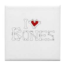 I Love Bones Tile Coaster