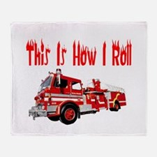 How I Roll- Fire Truck Throw Blanket