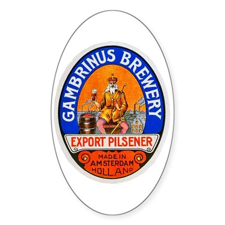 Holland Beer Label 8 Sticker (Oval)
