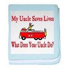 Firefighter Saves Lives-Uncle baby blanket