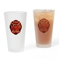 Maltese Cross Red Flame Drinking Glass