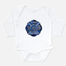 Maltese Cross-Blue Flame Long Sleeve Infant Bodysu