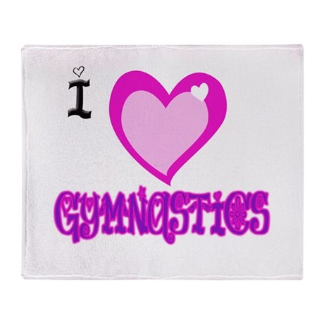 I Love Gymnastics Throw Blanket