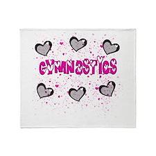 Gymnastics Glitter Hearts Throw Blanket