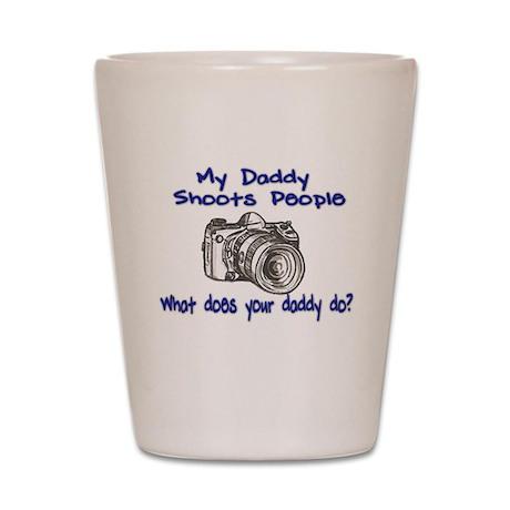 My Daddy Shoots- Blue Shot Glass