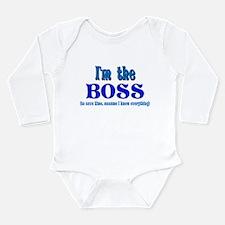 I'm the Boss- Blue Long Sleeve Infant Bodysuit