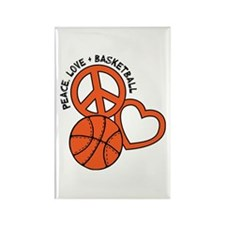 Peace, Love, Basketball Rectangle Magnet