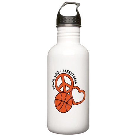 Peace, Love, Basketball Stainless Water Bottle 1.0
