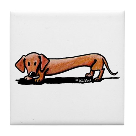 Lil' Red Dachsie Tile Coaster