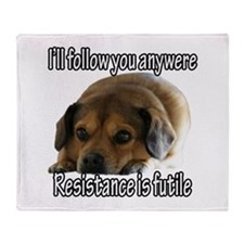 Resistance is Futile Puppy Throw Blanket