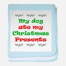 Dog Ate My Christmas baby blanket