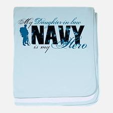 Daughter Law Hero3 - Navy baby blanket