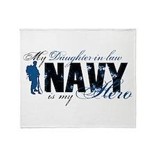Daughter Law Hero3 - Navy Throw Blanket